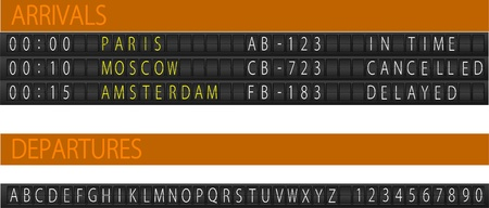 display type: Mostrador de programaci�n mec�nico del aeropuerto. Conjunto de letras.   ilustraci�n