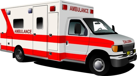 paramedics: Modern ambulance van over white. Colored vector illustration
