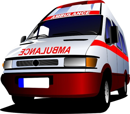 emergency vehicle: Modern ambulance van over white. Colored vector illustration