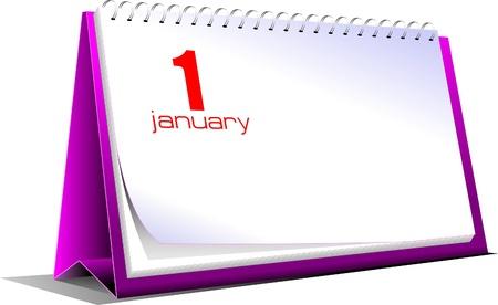 Vector illustration of desk calendar. 1 january. New Year Vector