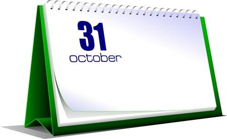 Vector illustration of desk calendar. 31 october. Halloween Vector