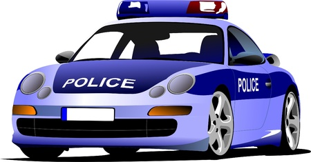 car safety: Police car. Municipal transport. Colored vector illustration.