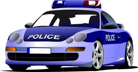 squad: Police car. Municipal transport. Colored vector illustration.