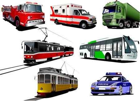 municipal: Set of municipal transport images. Vector illustration