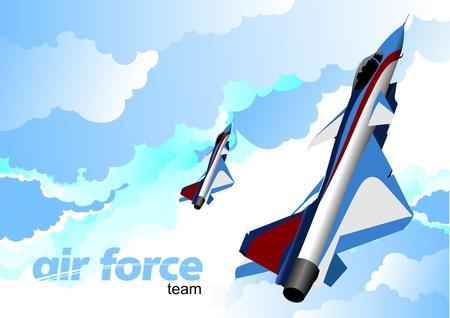 piloting: Air force team. Vector illustration Illustration