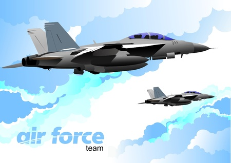 the air attack: Air force team. Vector illustration Illustration