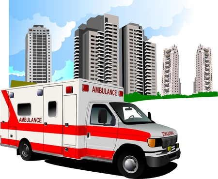 urgently: Dormitory and ambulance. Vector illustration Illustration