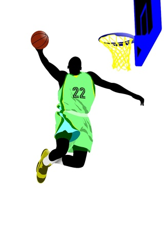dribbling: Basketball players. Colored Vector illustration for designers