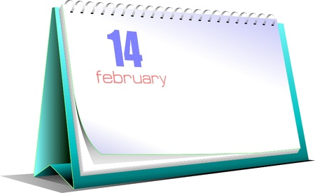Vector illustration of desk calendar. 14 february. Valentine`s Day Vector