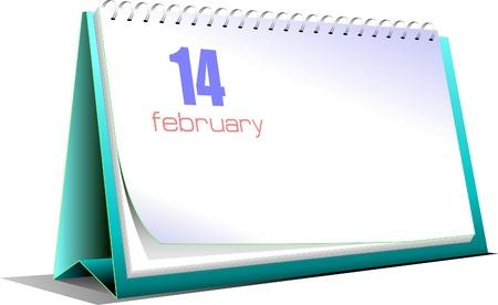 Vector illustration of desk calendar. 14 february. Valentine`s Day Vector