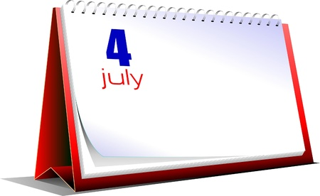 Vector illustration of desk calendar. US Independence Day Stock Vector - 9551677
