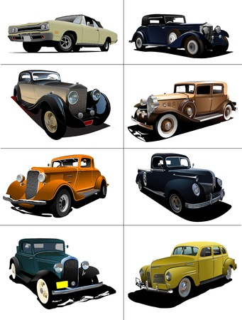oude autos: Eight  rarity cars fifty ears old. Sedan, cabriolet with closed roof. Vector illustration Stock Illustratie