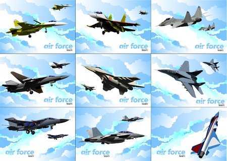 vehicle combat: Nine posters of Air force team. Vector illustration