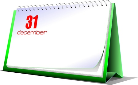 tabletop: Vector illustration of desk calendar. 31 december. New Year night