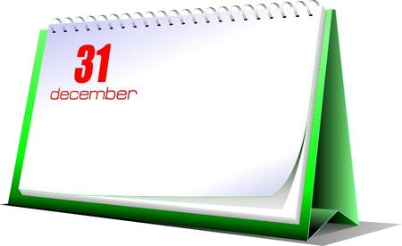 Vector illustration of desk calendar. 31 december. New Year night Stock Vector - 9551689