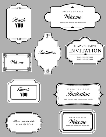 Set of ornate vector frames and ornaments with sample text. Perfect as invitation or announcement. All pieces are separate. Easy to change colors and edit. Stock Vector - 9551906