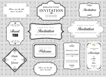 Set of ornate vector frames and ornaments with sample text. Perfect as invitation or announcement. All pieces are separate. Easy to change colors and edit. Vector