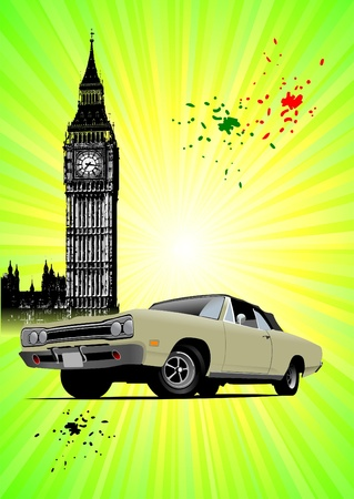 London poster  with Big Ben and fifty old rarity cabriolet image. Closed roof. Vector illustration Vector