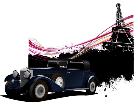 Paris image background with more than 50 years old vintage car . Vector illustration Vector