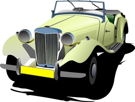 cabriolet: Seventy years old  yellow cabriolet with opened roof. Vector illustration