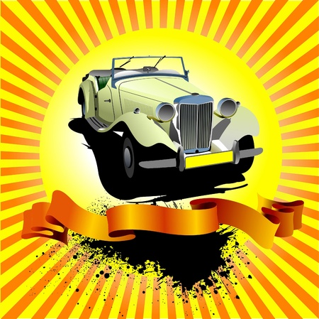 rarity: Rarity cars club award on sunrise background. Cover forbrochure. Vector illustration for designers