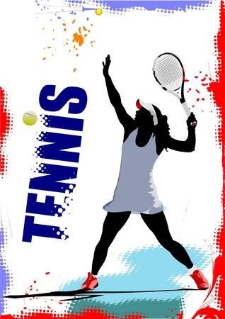serve: Tennis player poster. Colored Vector illustration for designers