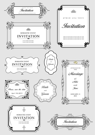 flourishes: Set of ornate vector frames and ornaments with sample text. Perfect as invitation or announcement. All pieces are separate. Easy to change colors and edit.