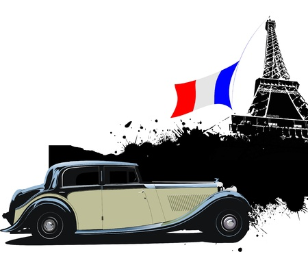 Cover for brochure with Paris and rarity closed roof cabriolet image.  France flag and red-yellow truck. Vector illustration Vector