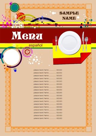 Spanish Restaurant (cafe) menu Vector