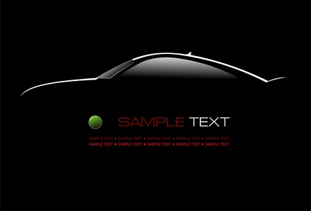 flown: White silhouette of car sedan on black background. Vector illustration