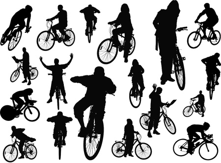 bicycle silhouette: Eighteen  people silhouettes with bicycle. Vector illustration Illustration