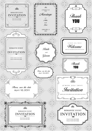 ornate: Set of ornate vector frames and ornaments with sample text. Perfect as invitation or announcement. All pieces are separate. Easy to change colors and edit.