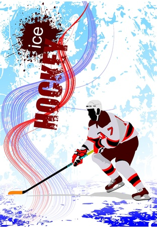 ice hockey player: Ice hockey players. Colored Vector illustration for designers. Poster.