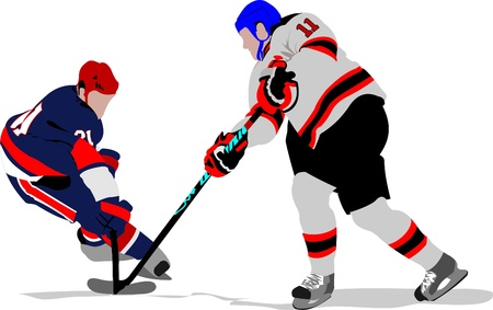 hockey rink: Ice hockey players. Colored Vector illustration for designers