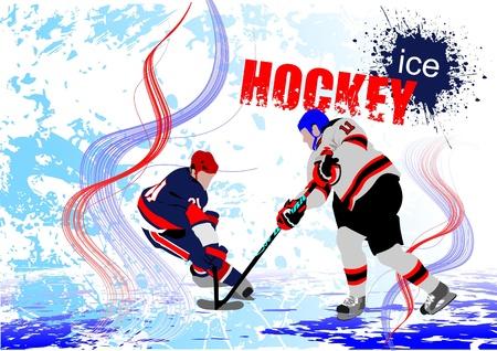 hockey rink: Jugadores de hockey sobre hielo. Color ilustraci�n vectorial para los dise�adores. P�ster Vectores