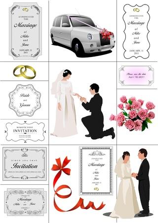 Big set of elements for wedding design. Vector illustration Vector