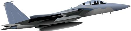 jet fighter: Combat aircraft. Colored vector illustration for designers Illustration