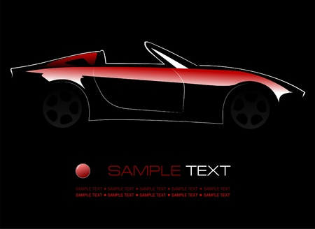 White silhouette of car on black background. Vector illustration Vector