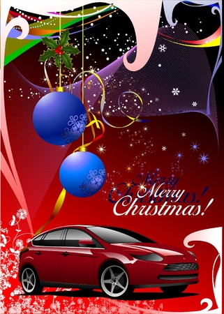 Christmas - New Year shine card with mlue balls and red car images. Vector illustration Vector