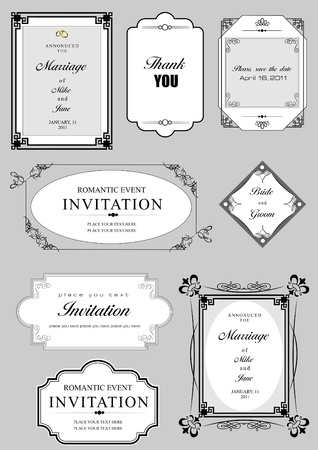Set of ornate vector frames and ornaments with sample text. Perfect as invitation or announcement. All pieces are separate. Easy to change colors and edit. Stock Vector - 9551966