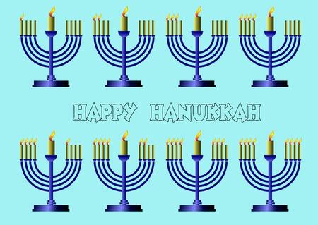 Hanukkah Symbols. Vector colored illustration  Vector