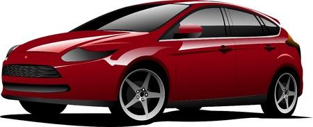 hatchback: Red-brown hatchback car on the road. Vector illustration Illustration