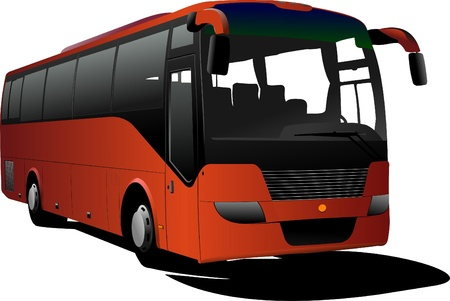 coach bus: Orange Tourist bus. Coach. Vector illustration