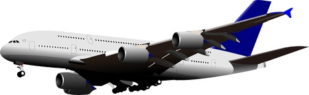 commercial painting: Landing Airplane . Vector illustration for designers Illustration