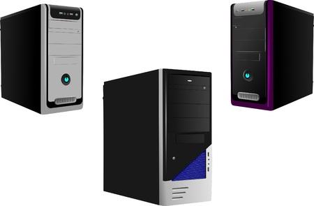 postazione lavoro: Tre caso realistico di Computer. Server. Workstation. Illustrazione vettoriale