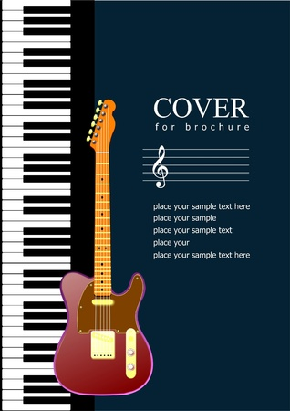 Cover for brochure with Piano with guitar images. Vector illustration Stock Vector - 9552052