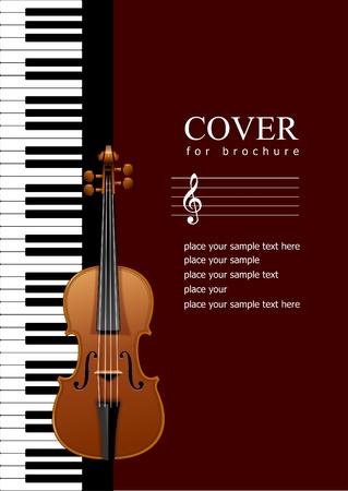 violines: Cobertura de folleto con Piano con im�genes de viol�n. Ilustraci�n EPS 10 Vector