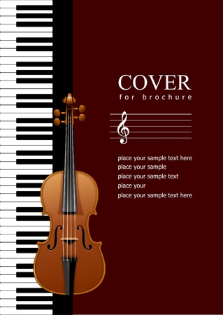 Cover for brochure with Piano with violin images. EPS 10 Vector illustration Stock Vector - 9552130