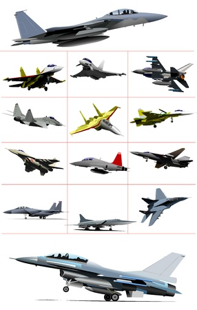 vehicle combat: Combat aircraft. Team. Colored vector illustration for designers Illustration