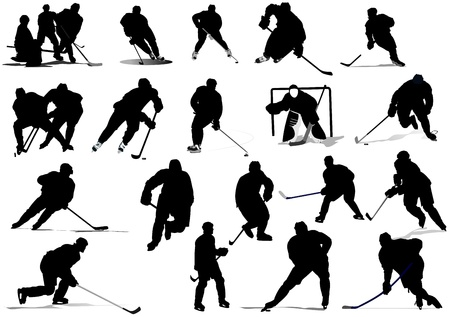 Ice hockey players. Colored Vector illustration for designers Stock Vector - 9551800